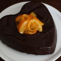 Chocolate Mud Cake with Grand Marnier & Candied Oranges