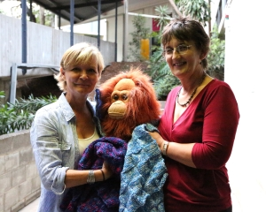 Lone (left) with Sandra who knits blankets for baby orangutans