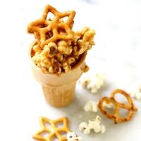 Salted Caramel Popcorn Pretzel Cups