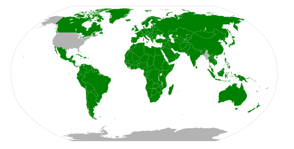 The grey areas show the countries which do not use the metric system. Source: Wikipedia