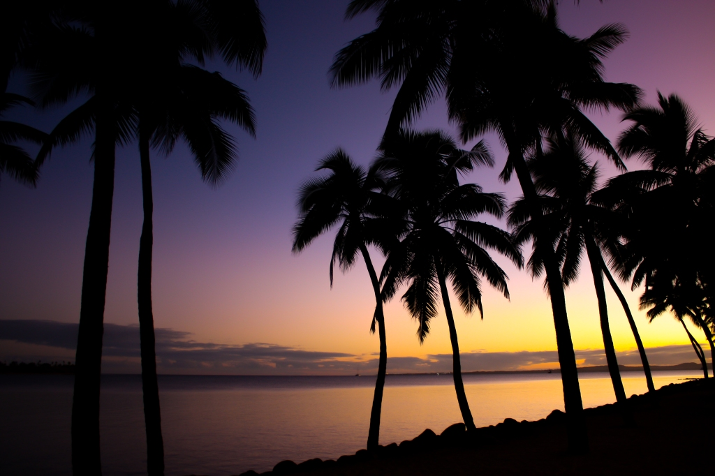 Fijian beach at dawn